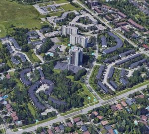 IMAGE: An aerial view of the Rossland Park community in Oshawa.