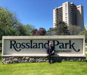IMAGE: SVN Rock Advisors chief executive officer and broker of record Derek Lobo sits at the entrance to Rossland Park in Oshawa. (Courtesy SVN Rock Advisors)